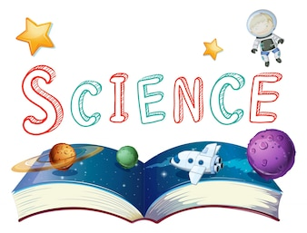 Boek van wetenschap met planeten en astronauten