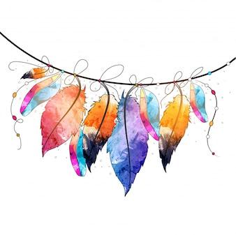 Boho stijl abstracte aquarel hangende veren ontwerp, Creatief handgetekend decoratief element.