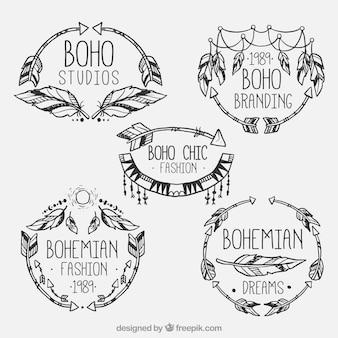 Boho stijl mode logos