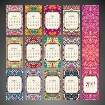 Boho stijlkalender ontwerp