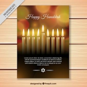 Bokeh kaart voor Chanoeka met kaarsen