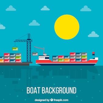 Boot in een baai achtergrond