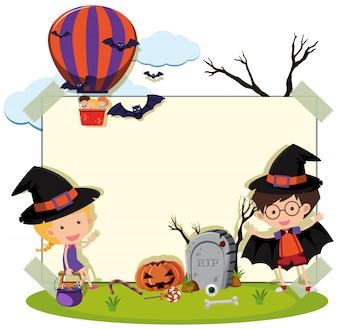 Border template met kinderen in kostuum