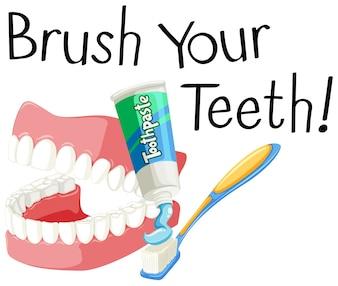 Borstel je tanden met tandenborstel en plak