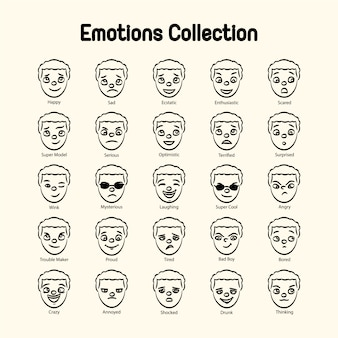 Boy's gezicht emoties collectie