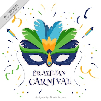 Braziliaanse carnaval achtergrond met platte masker en confetti