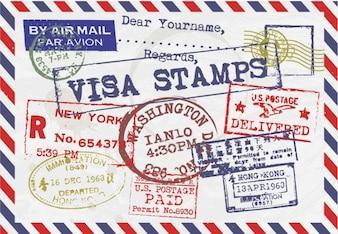 Brief met visumzegels