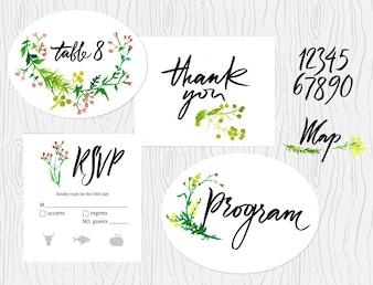 Bruiloft grafische set