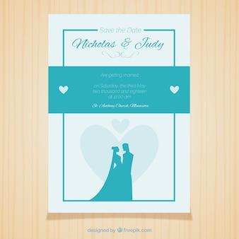 Bruiloft kaart blauw ontwerp