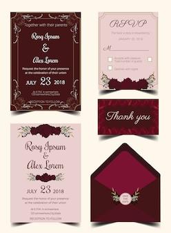 Bruiloft uitnodiging kaart suite met bloem sjablonen.