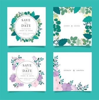 Bruiloft uitnodiging kaart suite met bloem Templates.Vector Illustratie