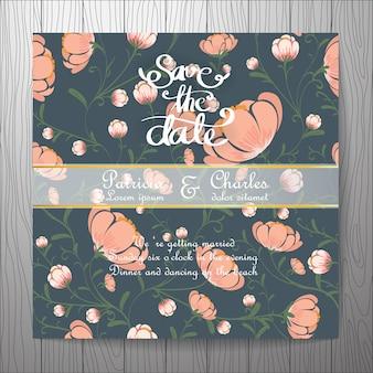 Bruiloft uitnodiging met bloemen achtergrond