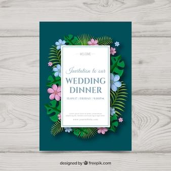 Bruiloft uitnodiging met bloemen