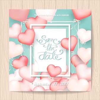 Bruiloft uitnodiging met hart ballons frame