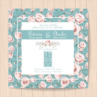 Bruiloft uitnodiging met rozen achtergrond