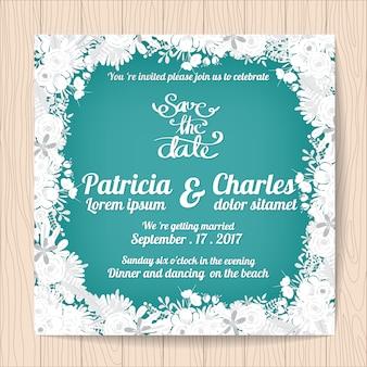 Bruiloft uitnodiging met witte bloemen frame