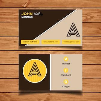 Bruin en geel visitekaartje sjabloon