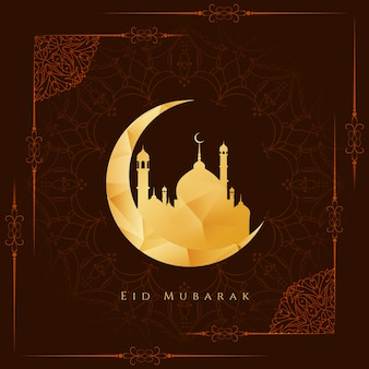 Bruine kleur stijlvolle Eid mubarak achtergrond