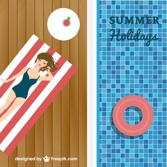 Buitenbad vakantie vector