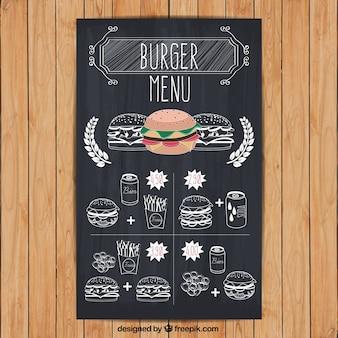 Burger menu in de hand getekende stijl
