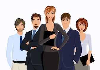 Busines vrouw met business team