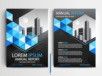 Business brochure sjabloon met blauwe en zwarte geometrische vormen