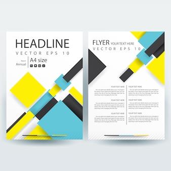 Business brochure sjabloon met geel en blauw geometrische vormen