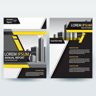 Business brochure sjabloon met geel en zwart geometrische vormen