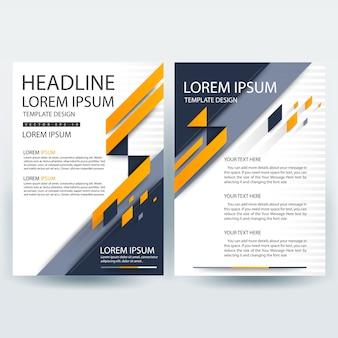 Business brochure sjabloon met oranje en donkerblauw geometrische vormen