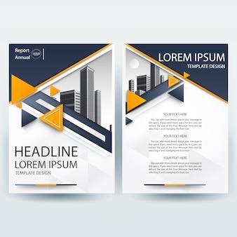 Business brochure sjabloon met oranje en grijs geometrische vormen