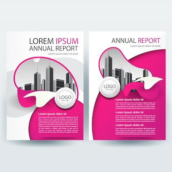 Business brochure sjabloon met roze en witte abstracte vormen