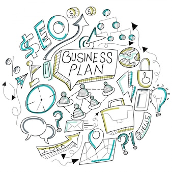 Business doodle, met zwart-wit business teken, symbolen en iconen.