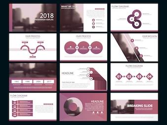 Business presentatie infographic elementen sjabloon set, jaarverslag corporate horizontale brochure ontwerp sjabloon