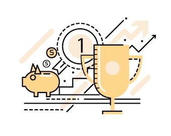 Business Succesvol en overwinningsconcept. platte lijn iconen. vector illustratie