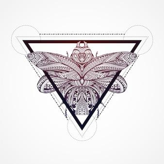 Butterfly binnenkant van een driehoek achtergrond