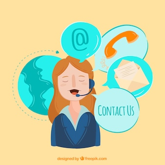 Callcenter achtergrond met contactelementen