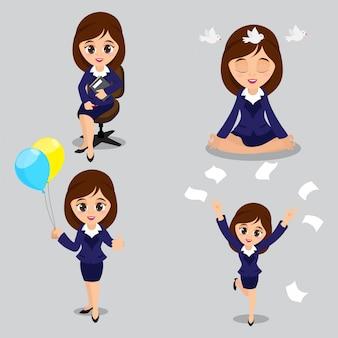 Cartoon illustratie van jonge zakenvrouwen in vier verschillende poses