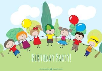 Cartoon kinderen verjaardag ontwerp