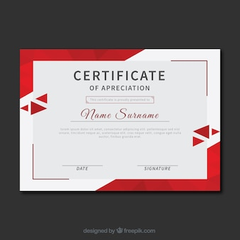 Certificaat van erkenning met rode driehoekjes