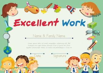 Certificatie sjabloon voor studenten met uitstekend werk