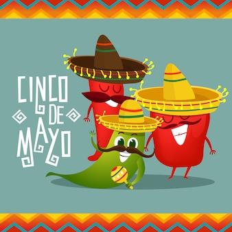Cinco de mayo achtergrond met peper karakters