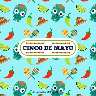 Cinco de mayo achtergrond met schedels en chili