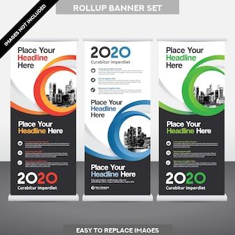 City Background Business Roll Up. Vlag Banner Design Template Set.