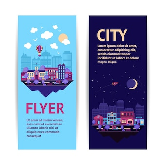 City night scape nacht en dag stad architectuur verticale banner set geïsoleerde vector illustratie