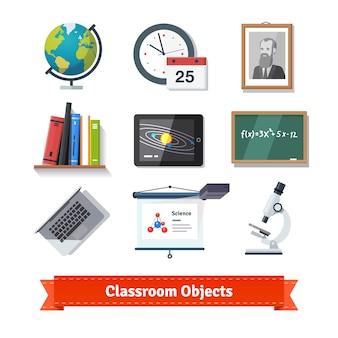 Classroom objecten kleurrijke platte pictogram set