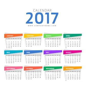Clean 2017 kalender ontwerp sjabloon