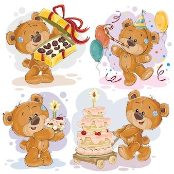Clipart illustraties van teddybeer wenst u een fijne verjaardag