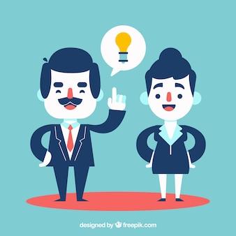 Co-werknemers met een idee