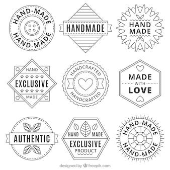 Collectie handgemaakte vintage emblemen