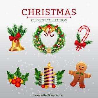 Collectie van decoratieve kerst elementen